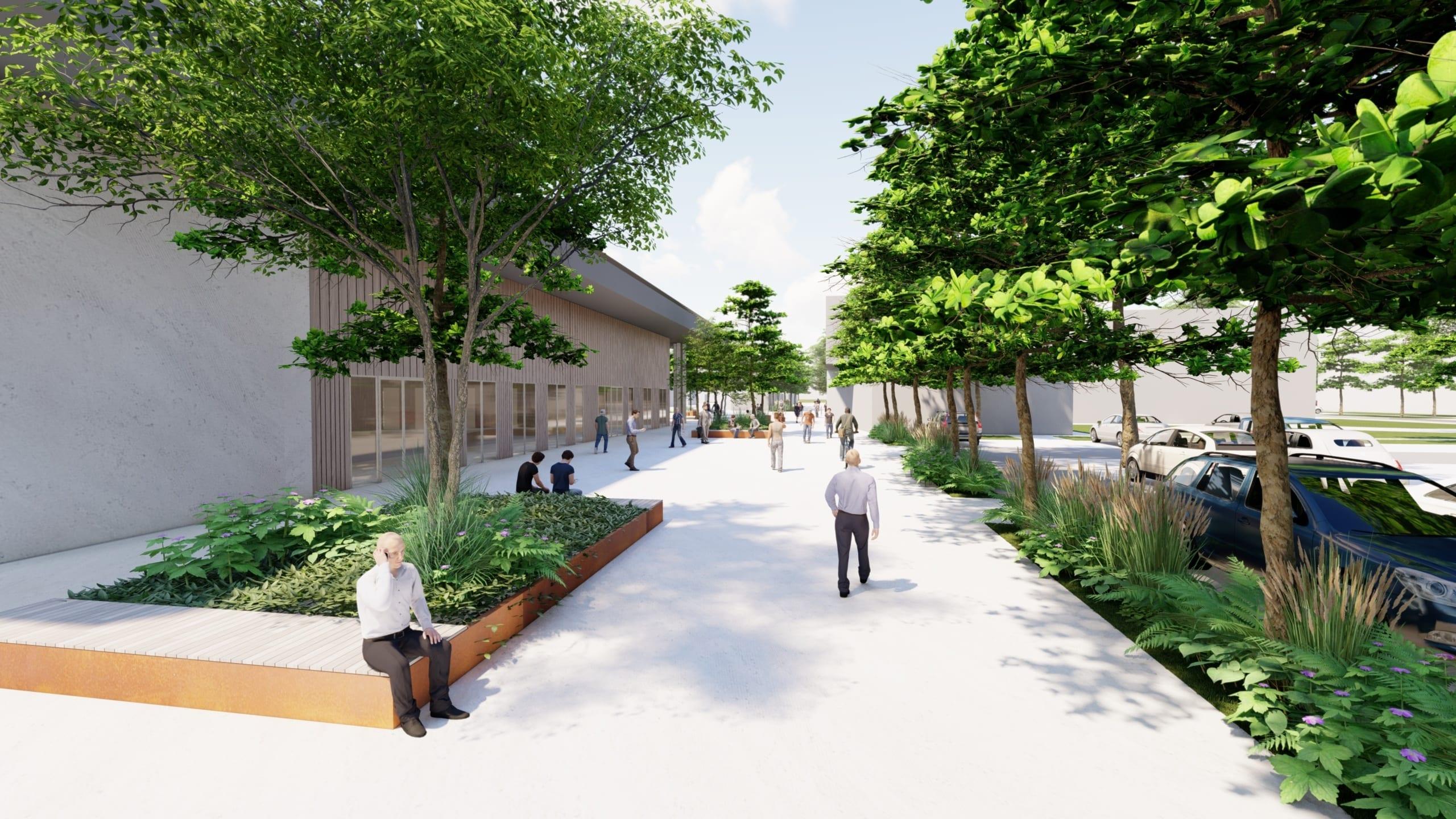 aménagement quartier vert petite hollande Hexagones 2024 Montbéliard<br /> ©Agence Donzé Architecte. Image non contractuelle